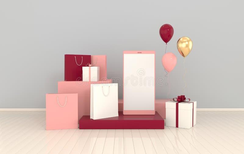 Смартфон, хозяйственная сумка, предпосылка модель-макета воздушных шаров в минимальном стиле Frameless мобильный телефон 3d предс бесплатная иллюстрация