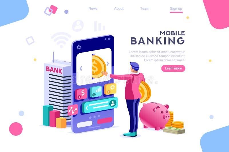 Смартфон человека монетки удерживания банка иллюстрация штока