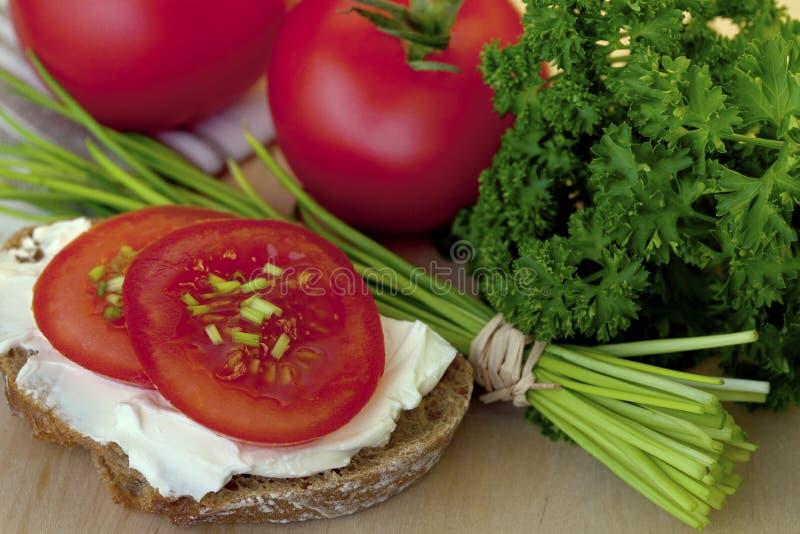 Смачная закуска с хлебом и томатами стоковые фотографии rf
