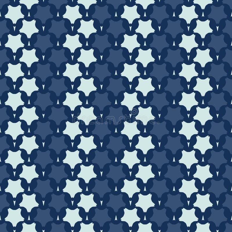 Смелая картина вектора японского стиля мотива нашивки звезды безшовная Синь индиго руки вычерченная бесплатная иллюстрация