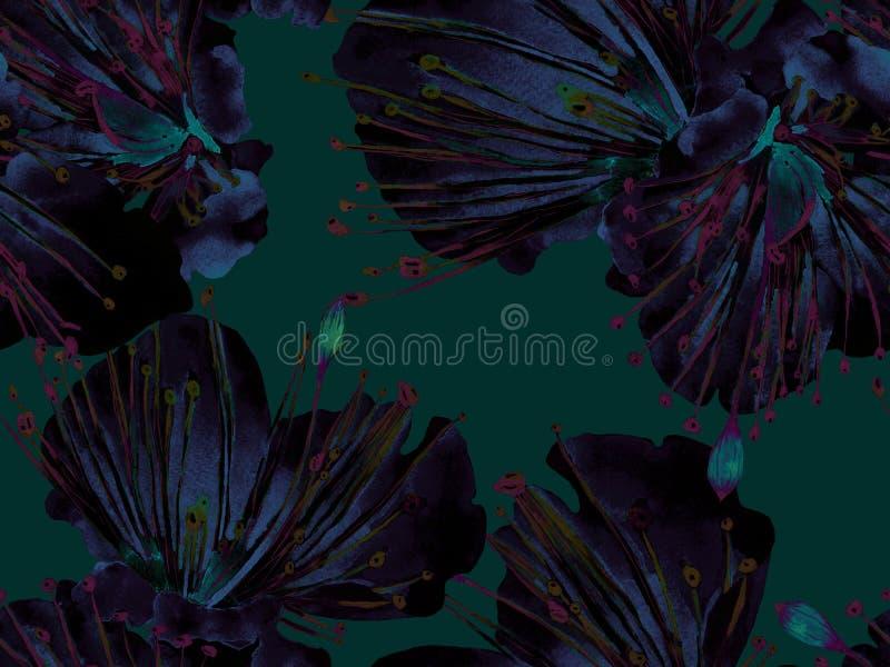 Смелая флористическая печать стоковое изображение