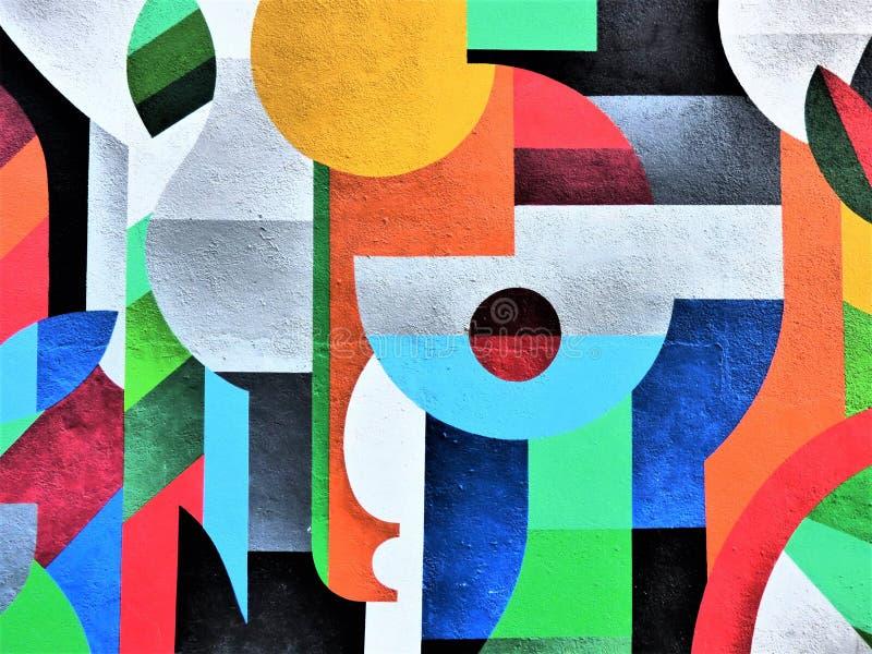 Смелейшие абстрактные цвета - искусство улицы Валенсии стоковое фото