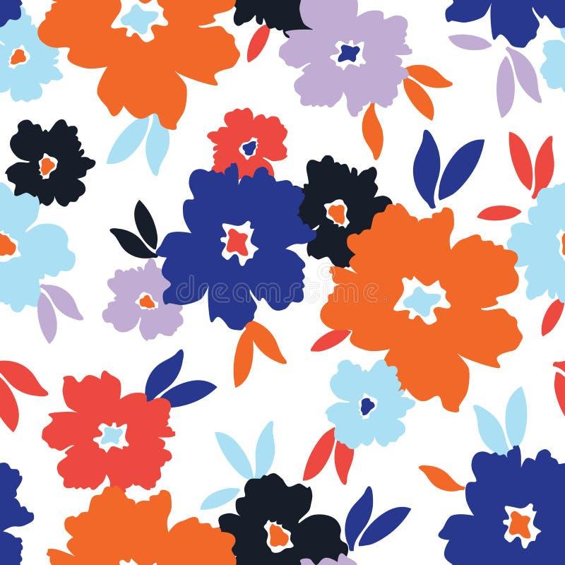 Смелейшие стилизованные цветки разбросали на картину белого вектора предпосылки безшовную бесплатная иллюстрация
