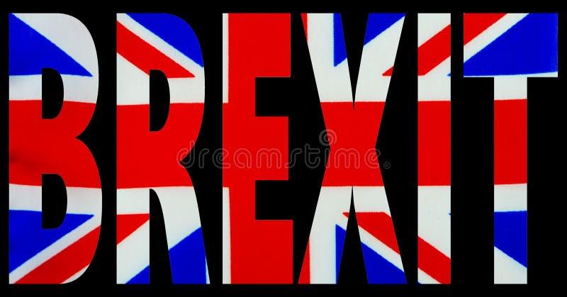 Смелые письма выреза текста от изображения национального флага с черной предпосылкой Концепция Brexit стоковые фото