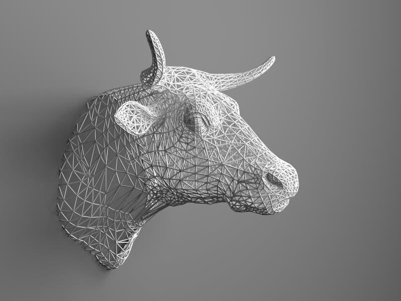 Смертная казнь через повешение искусственного быка головная на стене Полигональная голова быка Коровы от трехмерной решетки Объек бесплатная иллюстрация