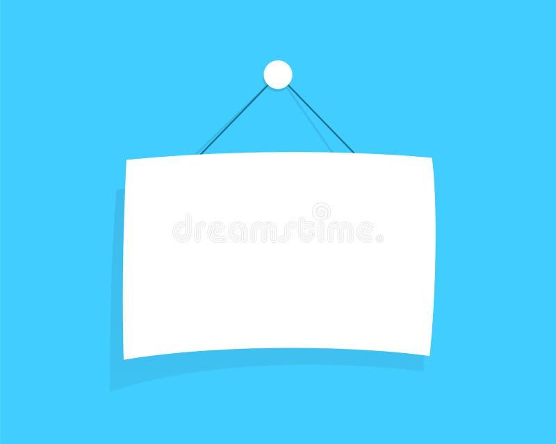 Смертная казнь через повешение пробела доски знака белая от вектора строки плоского иллюстрация штока