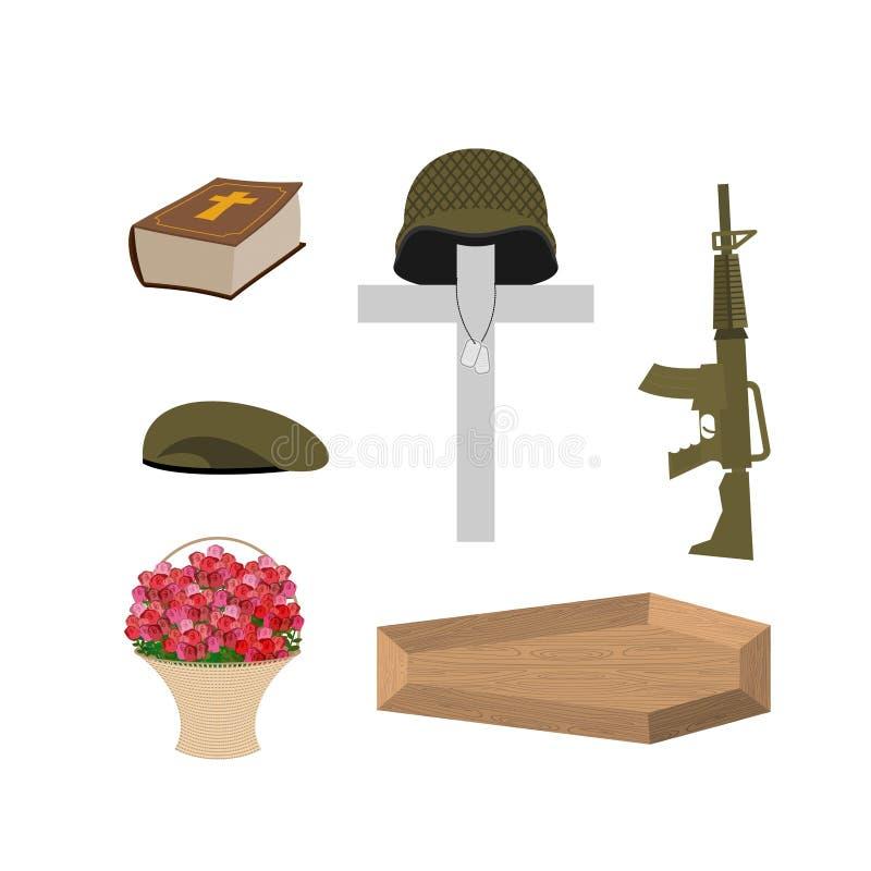 Смерть воинского ветерана Аксессуары похорон солдата иллюстрация вектора