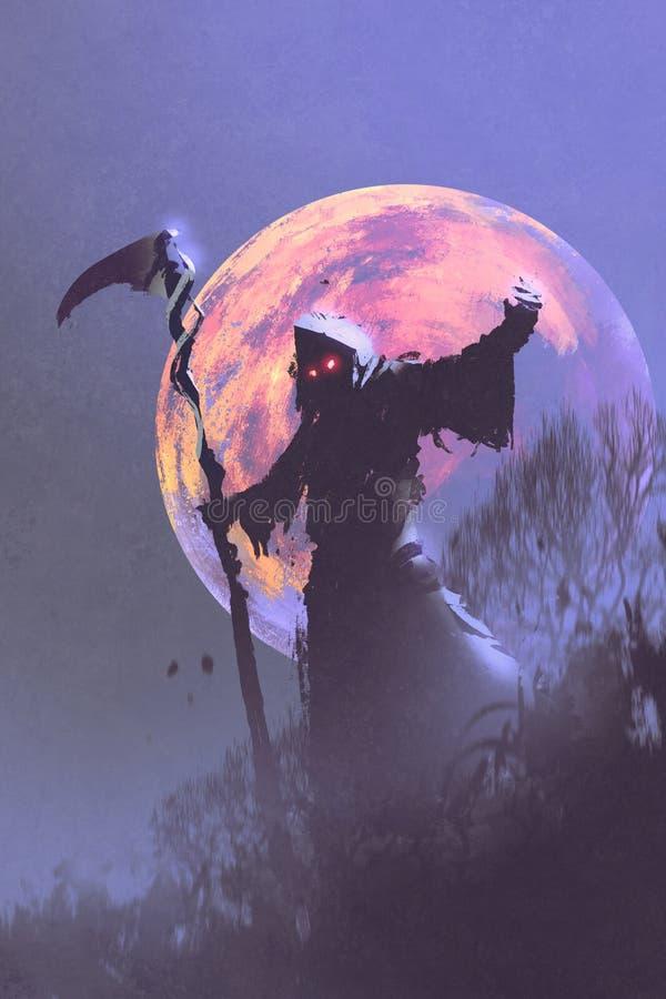 Смерть при коса стоя против ночного неба иллюстрация штока