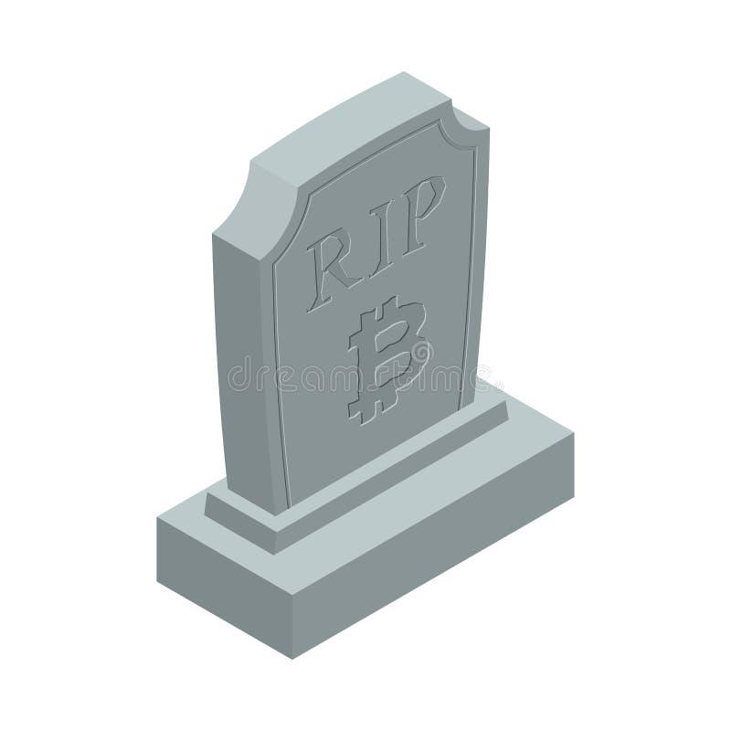 Смерть bitcoin СУЛОЯ Надгробная плита для cryptocurrency Могильный камень электрический бесплатная иллюстрация