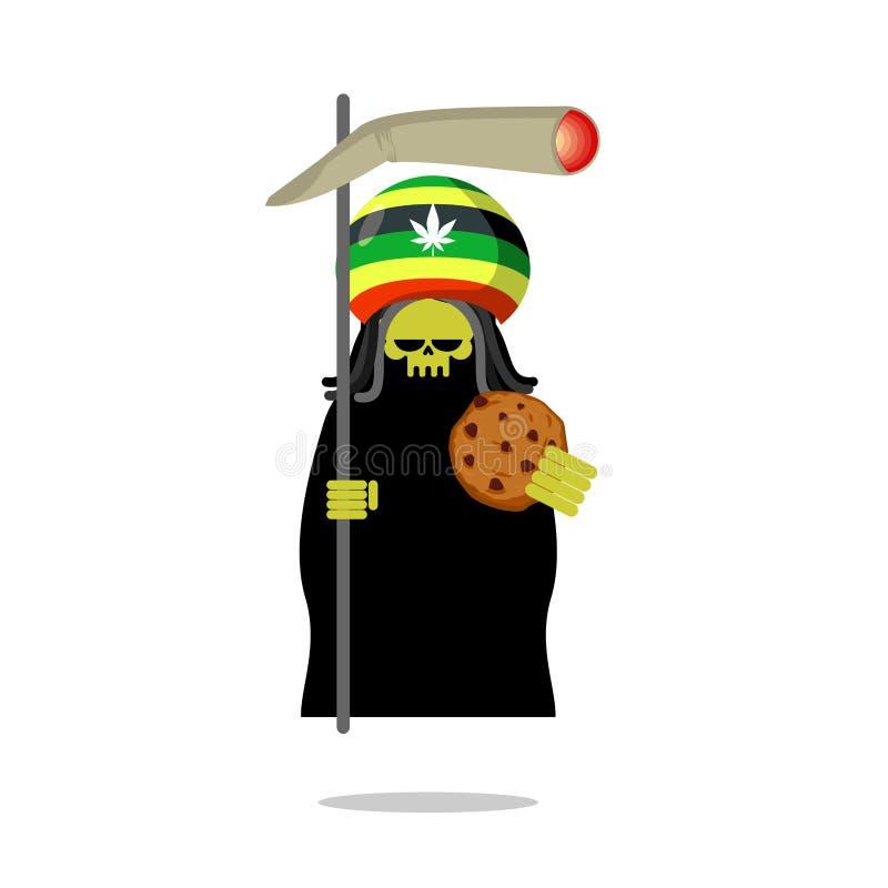 Смерть Rasta предлагает печенья и соединение или spliff Drea Rastafarian иллюстрация вектора