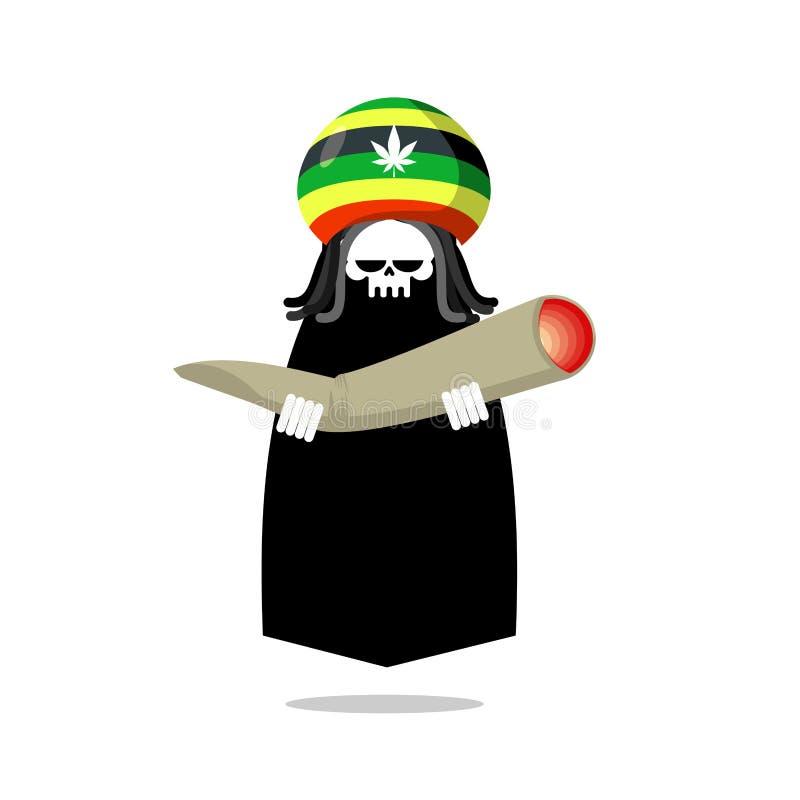 Смерть Rasta предлагает соединение или spliff Череп dreadlocks Rastafarian иллюстрация штока