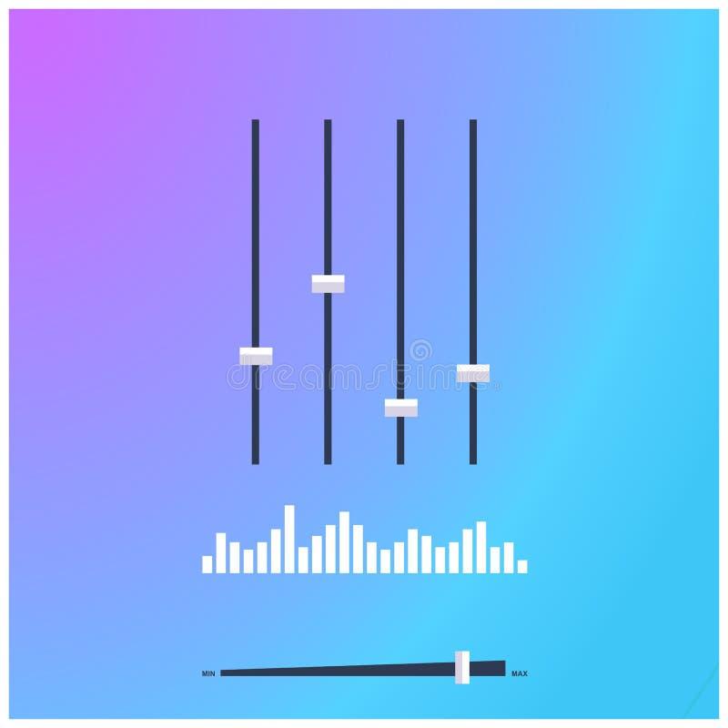 Смеситель музыки с кнопками управлением выравнивателя, звуковыми войнами и регулятором звука иллюстрация штока