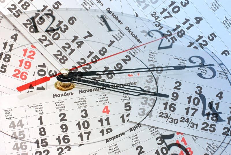 смесь часов календара стоковые изображения