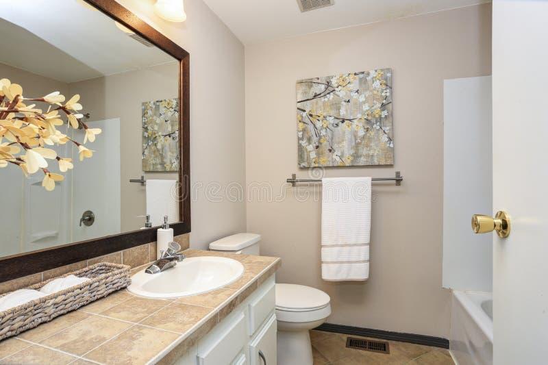 Сметанообразная ая-бел ванная комната похваляется тщета стоковые изображения