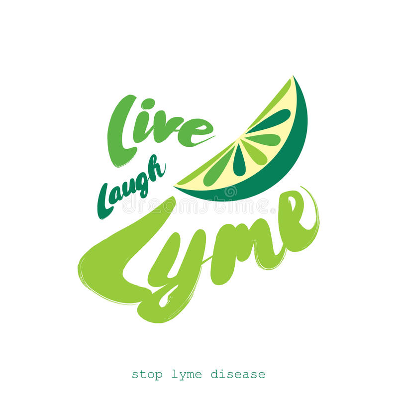 Смех, Lyme, плоский дизайн плаката вектора с куском известки Остановите заболевание lyme бесплатная иллюстрация