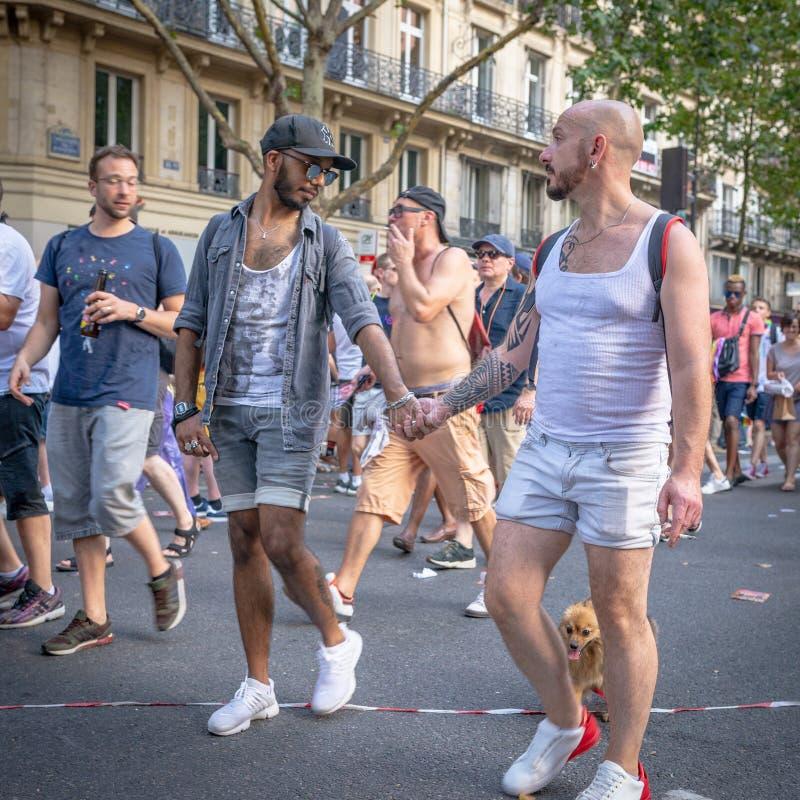 Смешанная расовая пара людей с небольшой собакой на гей-параде 2018 Парижа стоковое изображение rf