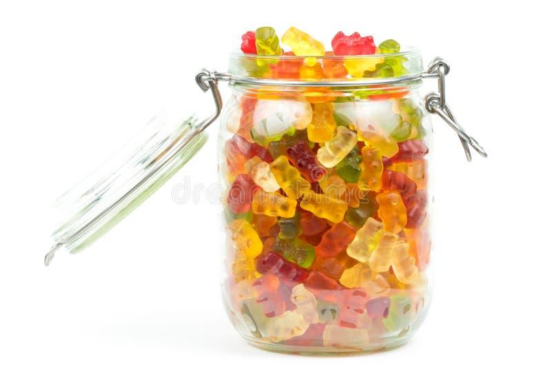 Смешанные камедеобразные медведи/помадки конфеты младенца студня в открытом опарнике стоковое фото rf