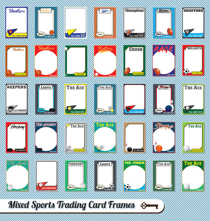 Смешанные картинные рамки карточки торговой операции спортов иллюстрация вектора