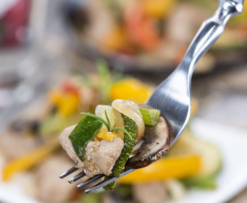 Смешанные овощи с мясом стоковые изображения