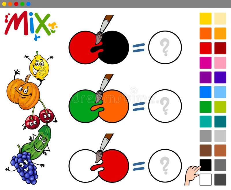 Смешивание красит игру для детей иллюстрация штока