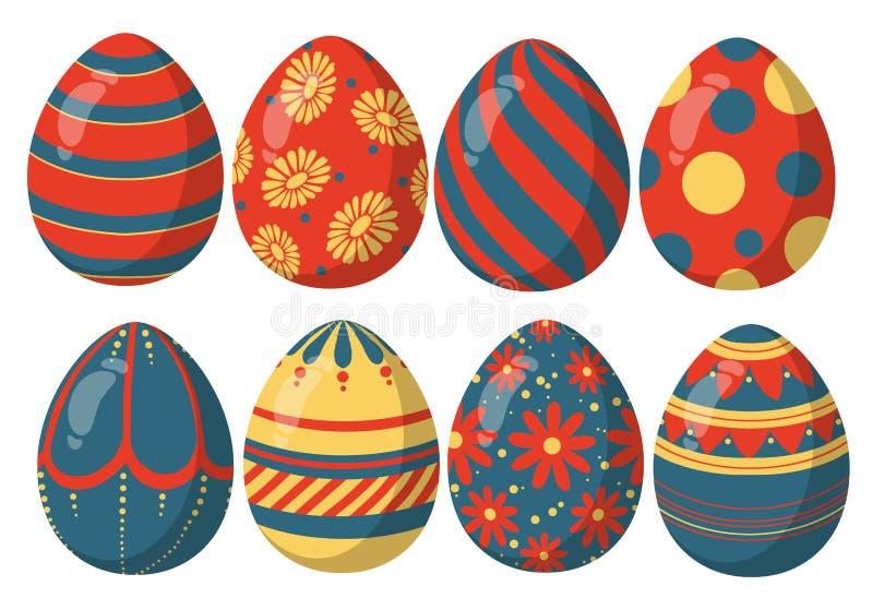 Смешивание Colorfull красное, голубое и золотое сияющее собрания пасхальных яя с различными красивыми картинами иллюстрация штока