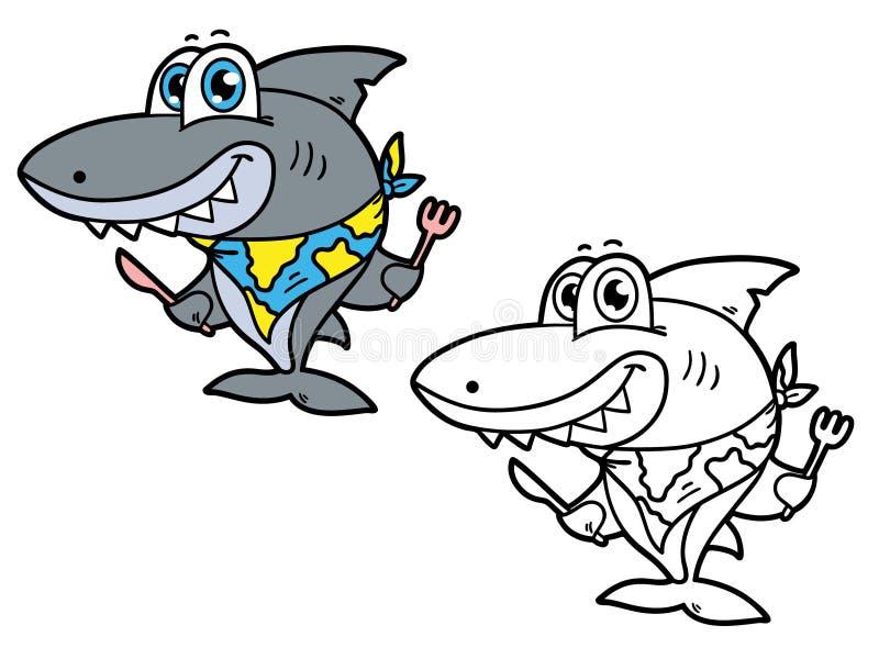 смешная акула иллюстрация вектора