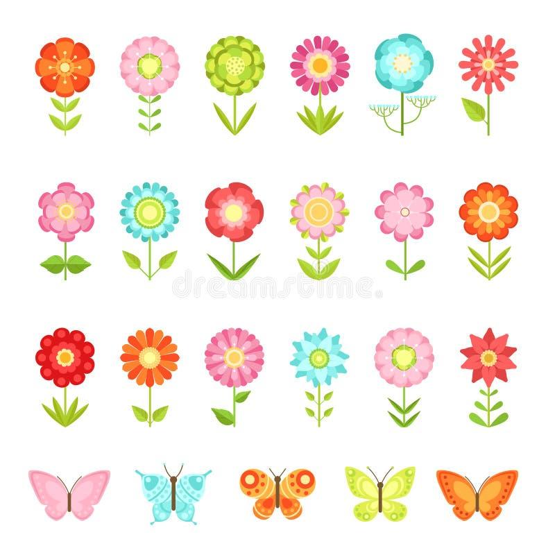 Смешная бабочка на цветках в саде Иллюстрации естественного цветка в плоском изоляте стиля на белой предпосылке иллюстрация штока