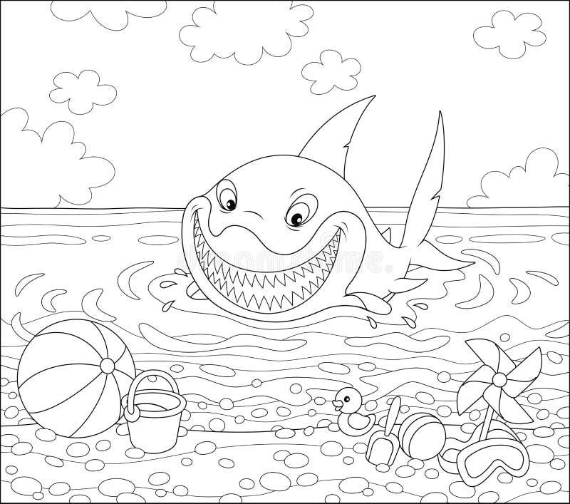 Смешная большая белая акула на пляже лета иллюстрация штока