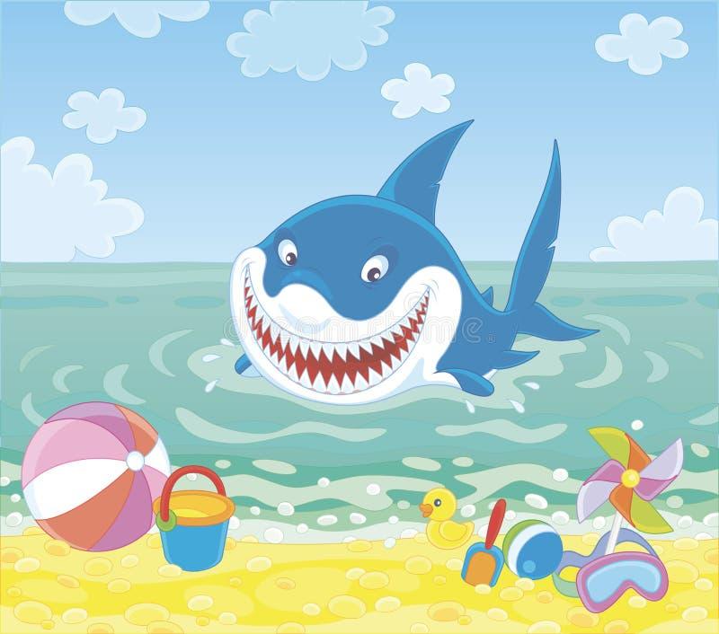 Смешная большая белая акула на пляже лета иллюстрация вектора