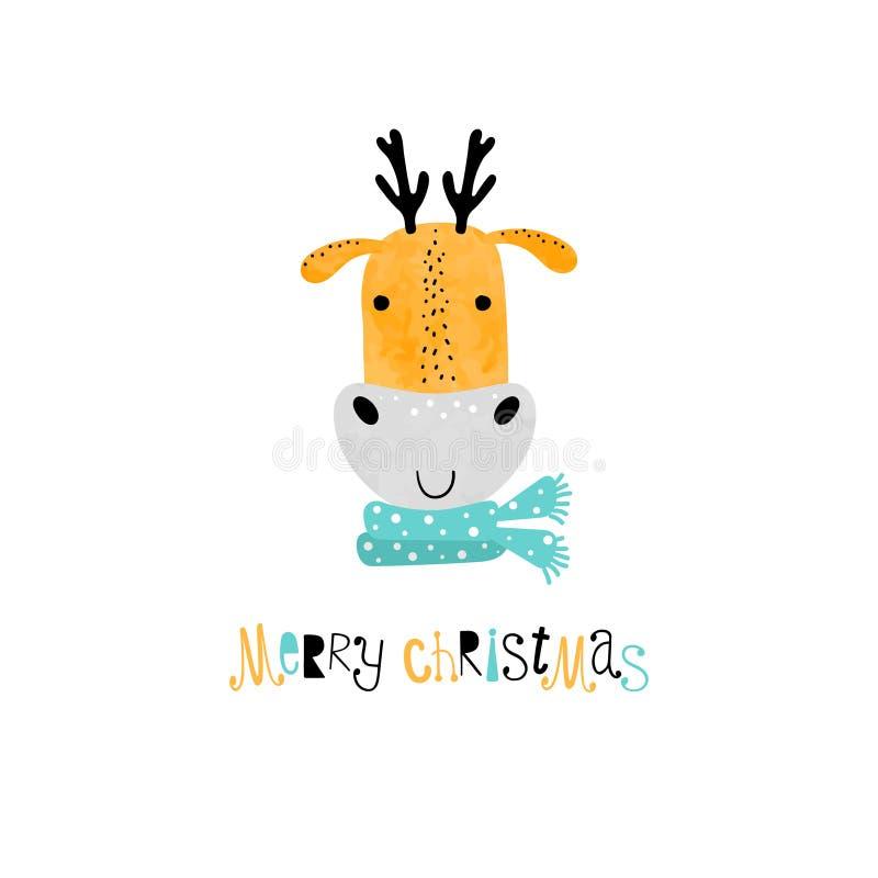 Смешная веселая рождественская открытка с оленями бесплатная иллюстрация
