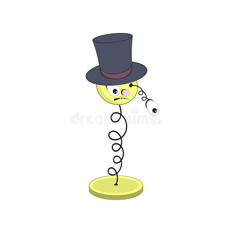 Смешная весна мультфильма - с головой, глаза и рот, носят шляпу и падения одного глаза  иллюстрация штока