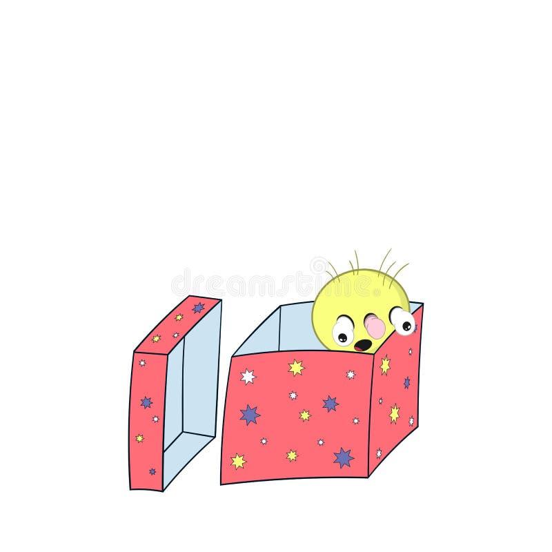 Смешная весна мультфильма - с головой, глаза и рот, смотрят из подарочной коробки и удивлены иллюстрация вектора