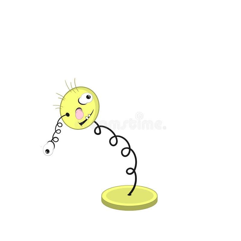 Смешная весна мультфильма - с головой, положенные глаза и рот, и ее глаз поскакали вне бесплатная иллюстрация