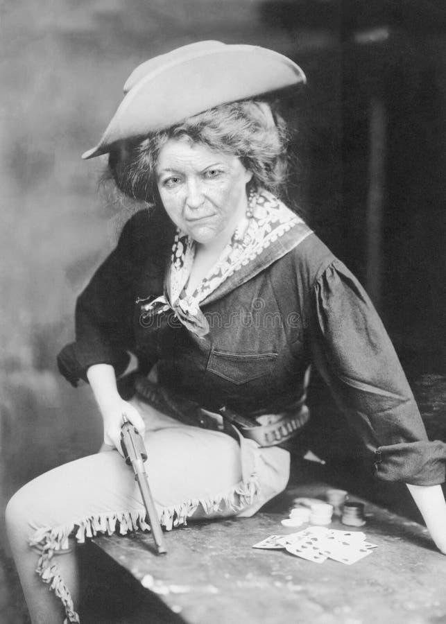 Смешная винтажная пастушка, ковбой, западная женщина стоковые изображения rf