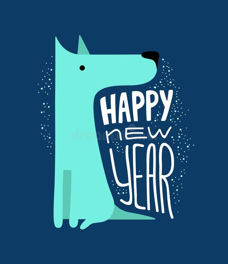 Смешная голубая собака Символ года 2018 Плоский стиль, иллюстрация изолированная на белой предпосылке Милый щенок вектора иллюстрация вектора