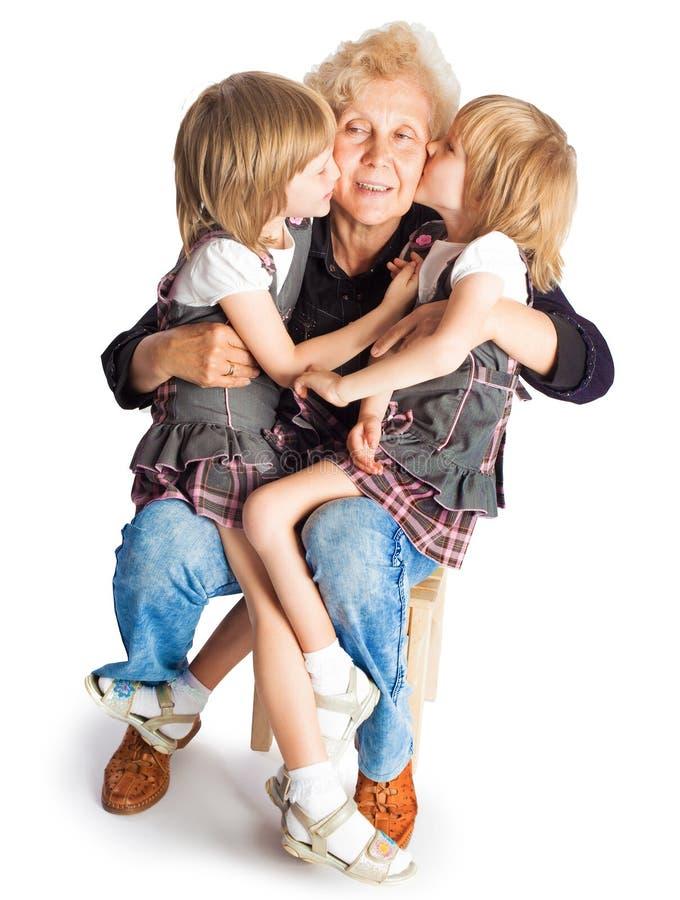 Смешная девушка с ее бабушкой стоковая фотография rf