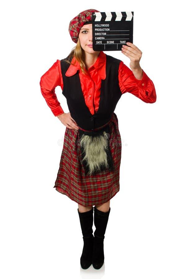 Смешная женщина в шотландской одежде с кино стоковые фотографии rf