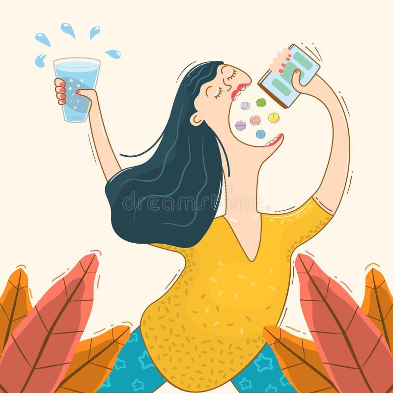 Смешная женщина принимает таблетки и витамины стоковая фотография