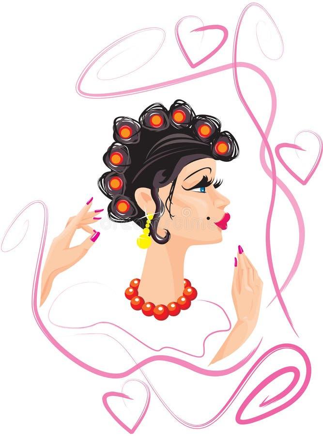 смешная женщина роликов волос иллюстрация вектора