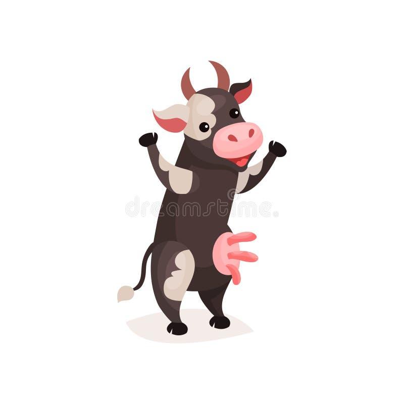 Смешная запятнанная корова, корова молока стоя на иллюстрации вектора шаржа 2 ног иллюстрация штока