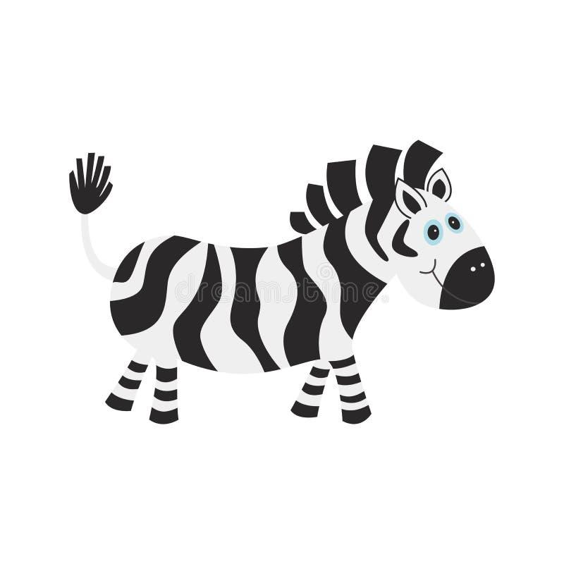 Смешная зебра шаржа изолированная на белой предпосылке иллюстрация штока