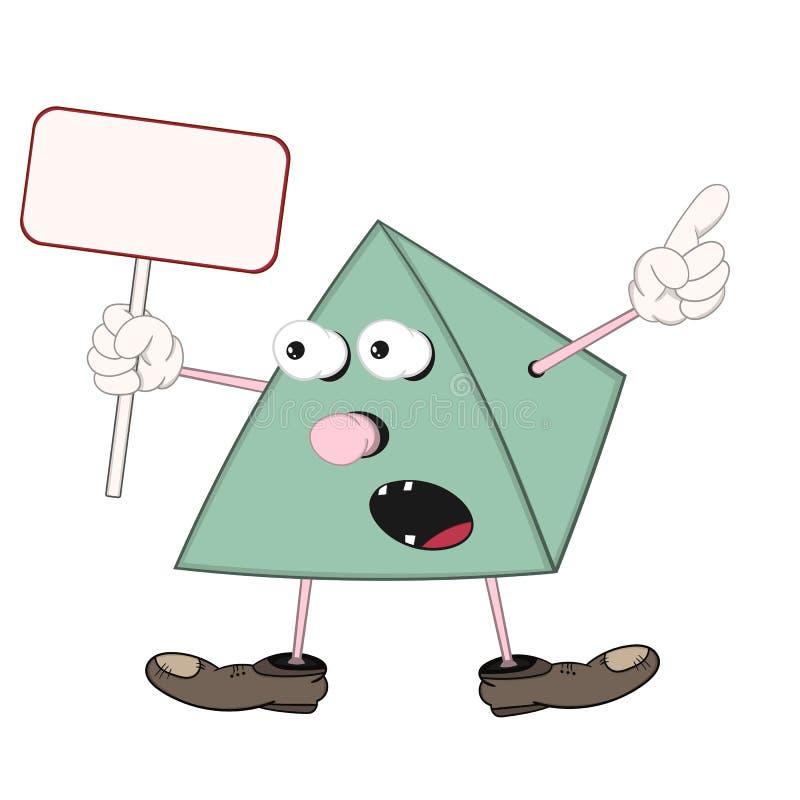 Смешная зеленая пирамида мультфильма в ботинках держит в его руке прямоугольный планшет, окрики и пункты к мнимому объекту иллюстрация штока