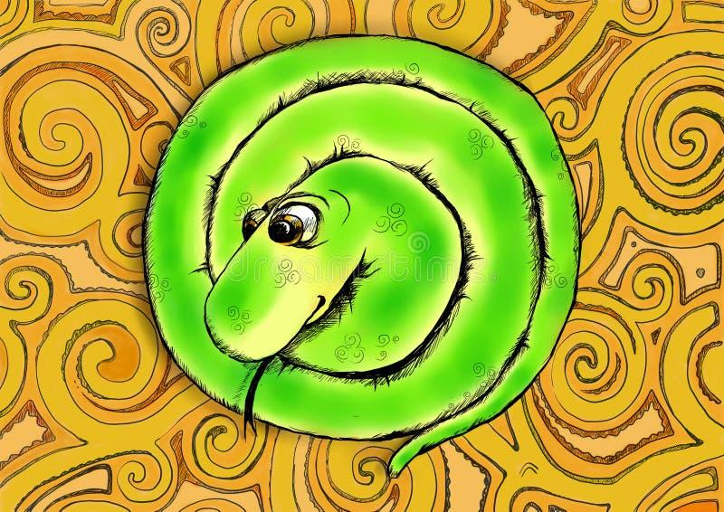 Смешная зеленая змейка бесплатная иллюстрация