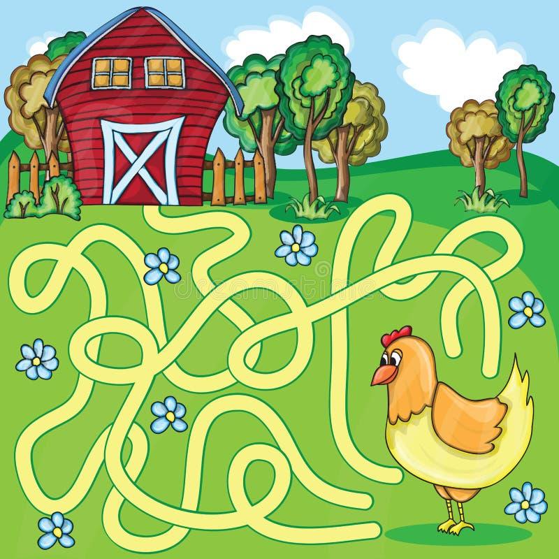 Смешная игра лабиринта вектора - цыпленок шаржа иллюстрация штока