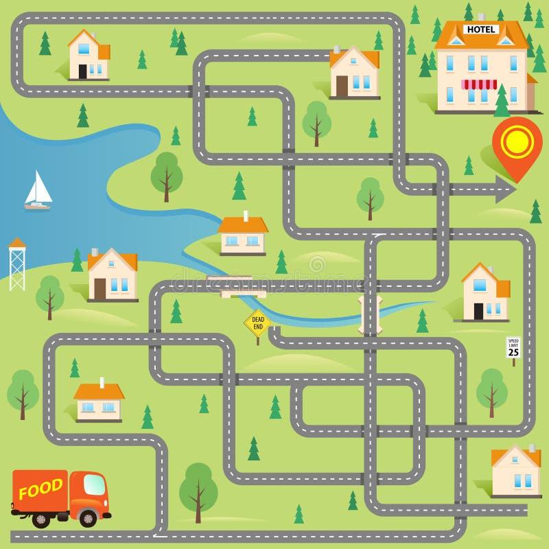 Смешная игра лабиринта: Водитель поставки находит гостиница в этом малом городе иллюстрация вектора