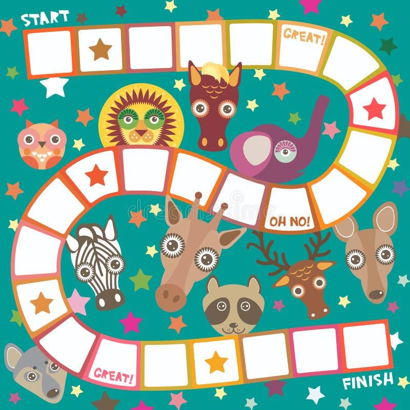 Смешная игра для детей дошкольного возраста, лошадь животных шаржа оленей слона, енот сыча жирафа, лев зебры волка, белые оранжев иллюстрация штока