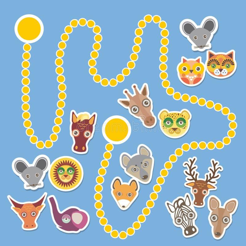 Смешная игра животных шаржа для детей дошкольного возраста вектор иллюстрация штока