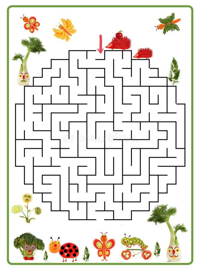 Смешная игра лабиринта для детей дошкольного возраста Помогите ежам прийти к друзьям иллюстрация вектора