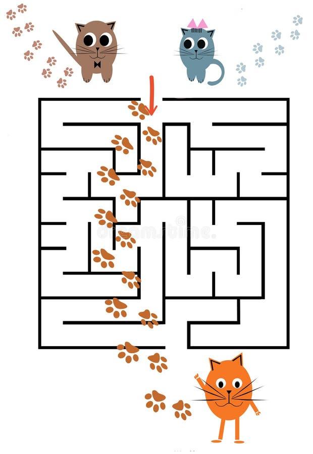 Смешная игра лабиринта для детей дошкольного возраста иллюстрация вектора