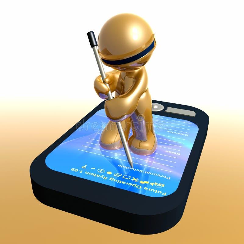 Смешная икона 3d с устройством pda иллюстрация штока